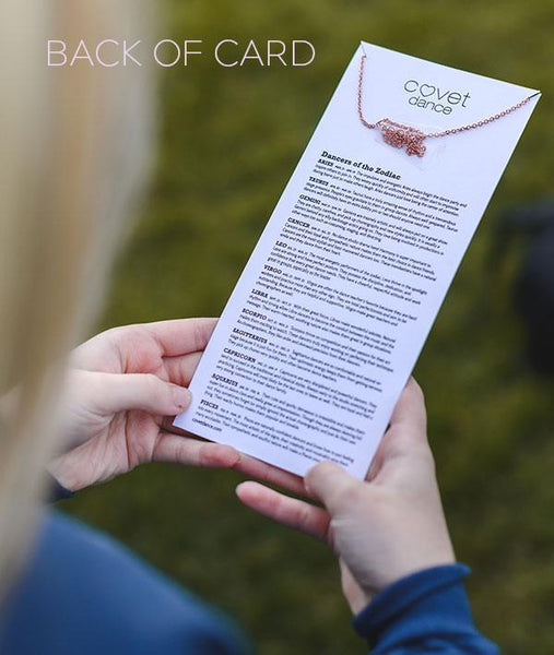 Back of Zodiac Necklace Card with sign descriptions