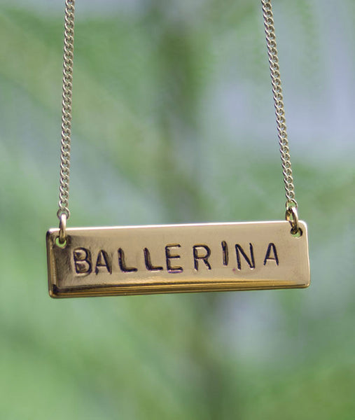 Brass hand-stamped BALLERINA bar necklace