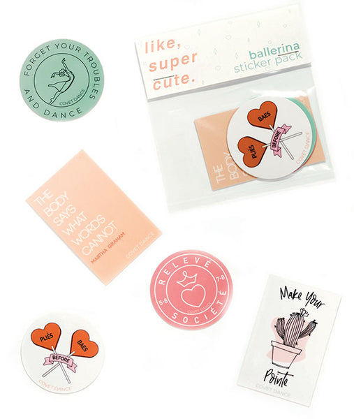 Set of five adorable vinyl ballet-themed stickers