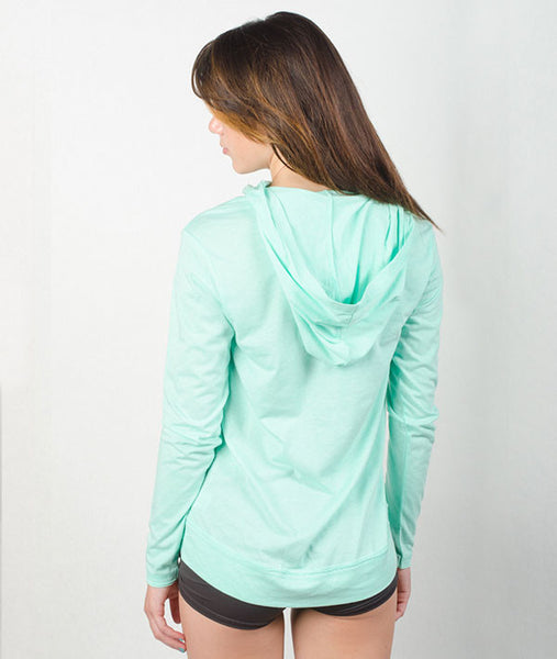 Barre Babes of every age love this light, mint-green pullover.