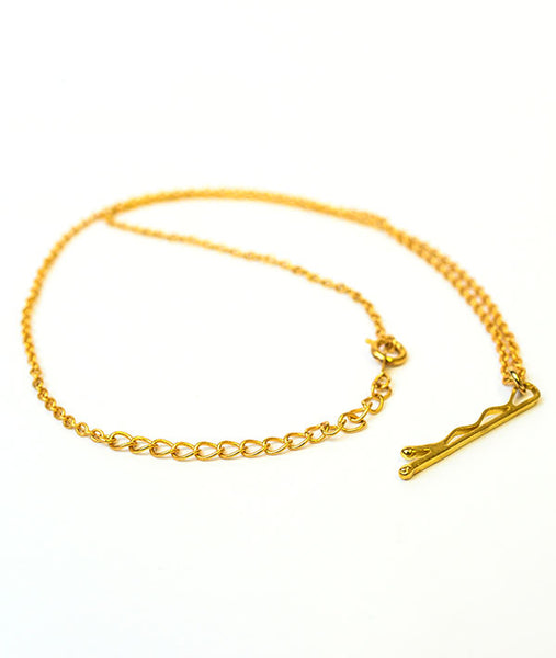 "Bobby pin charm on adjustable 18"" chain"