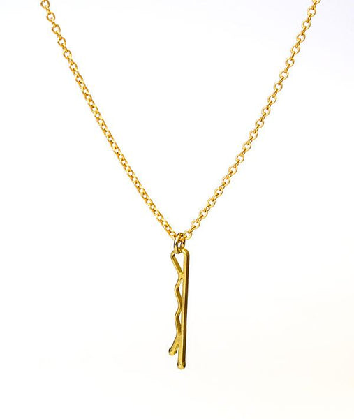 Gold-plated bobbypin necklace