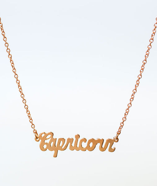 Capricorn Rose Gold Zodiac Necklace
