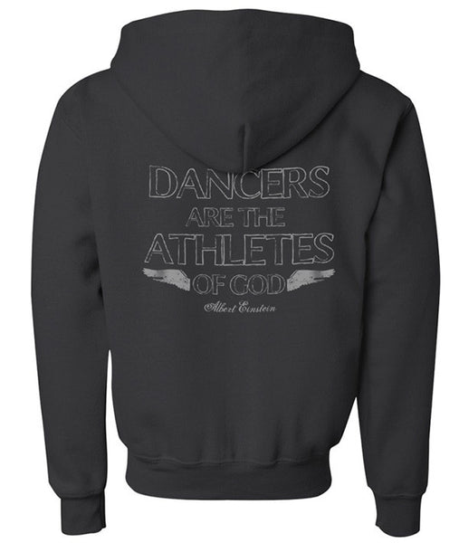 Youth pullover hoodie with Einstein quote on back.