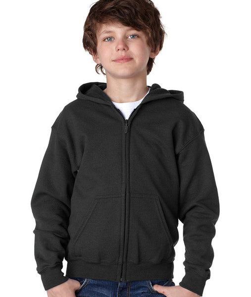 Black hoodie comes in zippered and pullover styles.