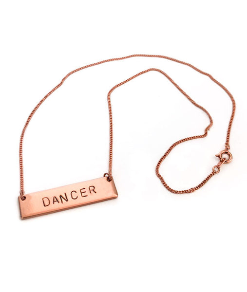"Rose Gold 18"" plated chain on DANCER necklace"