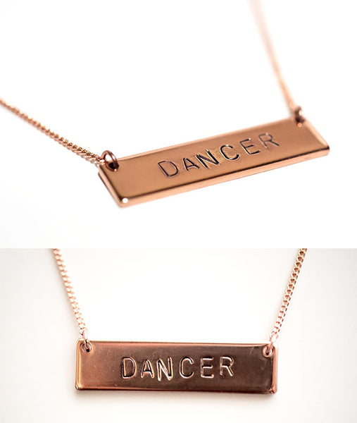 Hand-Stamped Rose Gold Dancer Bar Necklace Close Up