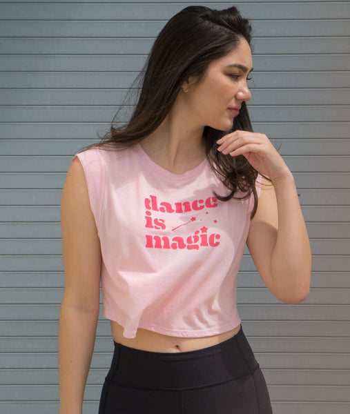Dance is Magic Crop Pink Muscle Tank