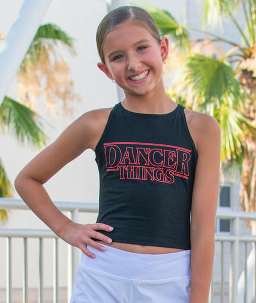 Annabel wearing the Dancer Things Crop Tank
