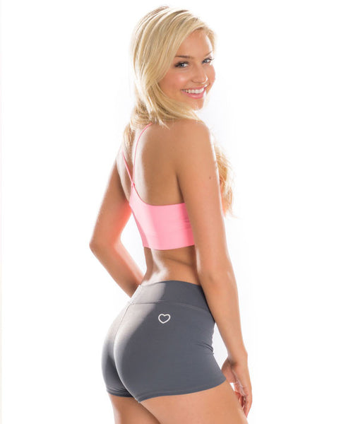 Covet Booty Shorts in grey with heart logo