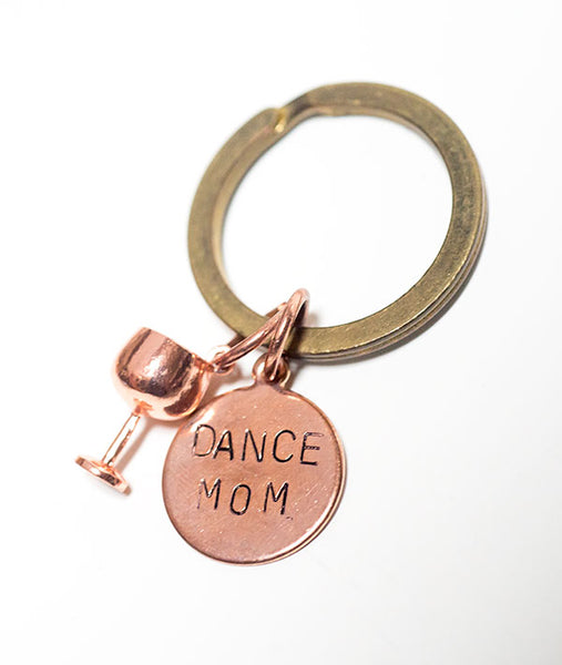 Rose Gold Dance Mom with Wine Glass Keychain
