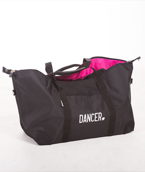 The perfectly pink interior of this duffel is all wrapped up in a tantalizing mix of sleek black microfiber and two-tone nylon. Featuring a spacious main compartment and zipper pockets inside and out.