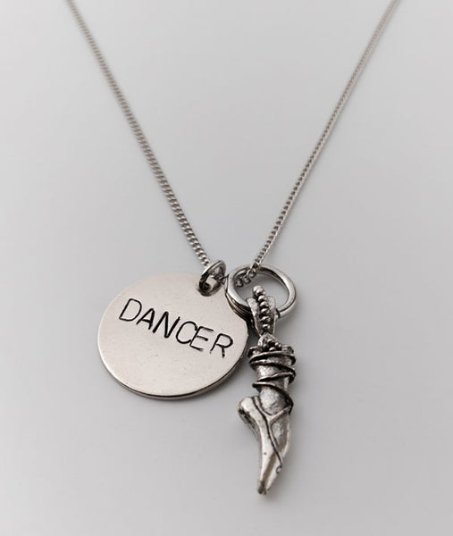 Ballet Dancer Necklace with Vintage Pointe Shoe Charm