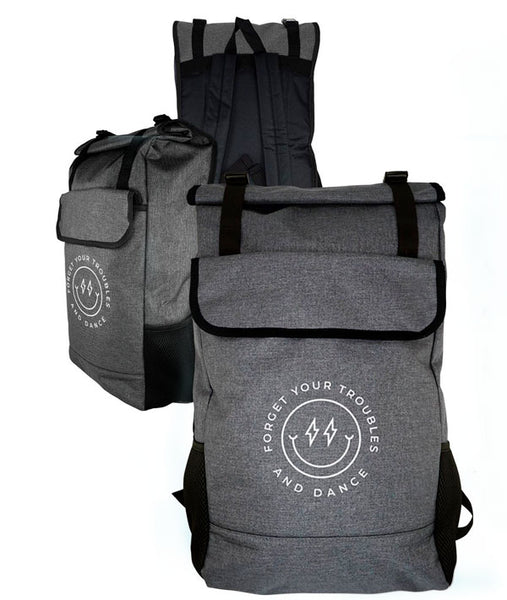 Side and rear views of Forget Your Troubles and Dance Backpack