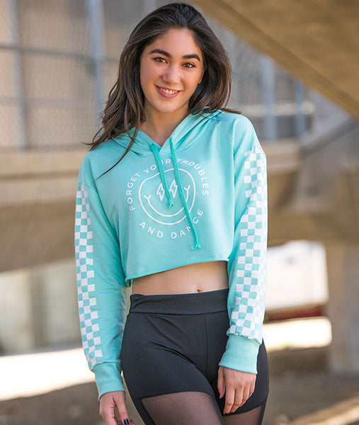 Forget Your Troubles Crop Hoodie with Checkered Sleeves