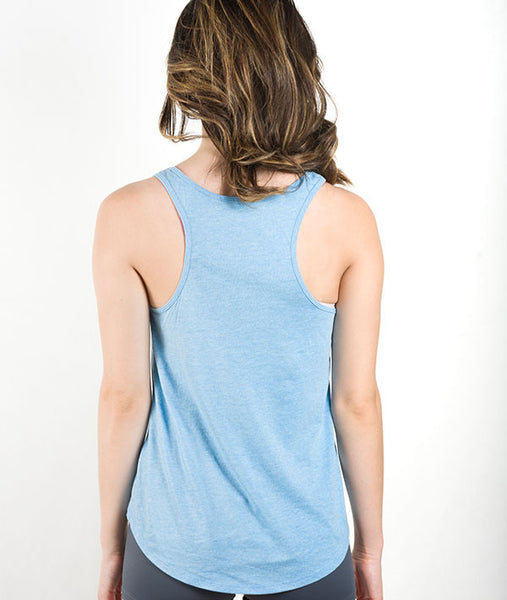 back view of blue racerback high low tank