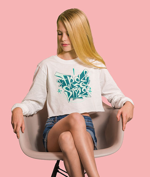 Crop long sleeve white tee with Freestyle graffiti graphic