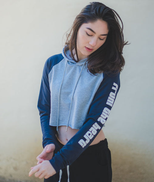 Cute raglan hoodie with FROM THE HEART on the sleeve