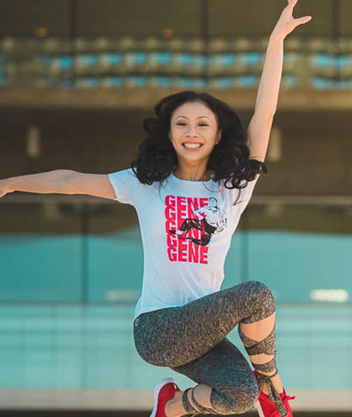 Jenai jumping for joy in her Gene Kelly t-shirt