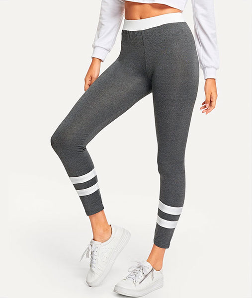 Athletic Ringer Leggings-Grey