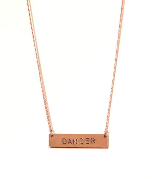 Dancer - Rose Gold Bar Necklace
