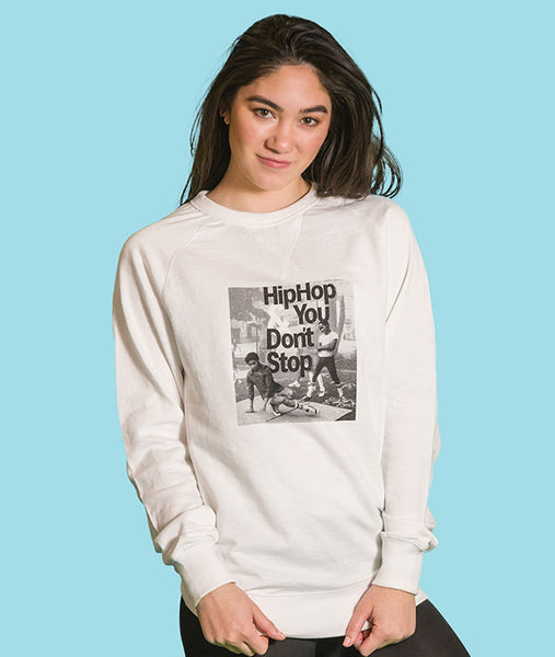 Vintage Hip Hop image on a white sweatshirt