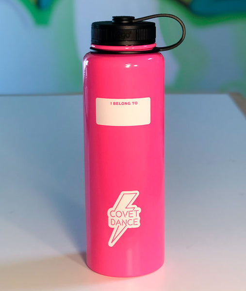 Write your name on the back of this Covet Dance water bottle