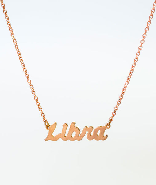 Libra Rose Gold Zodiac Necklace