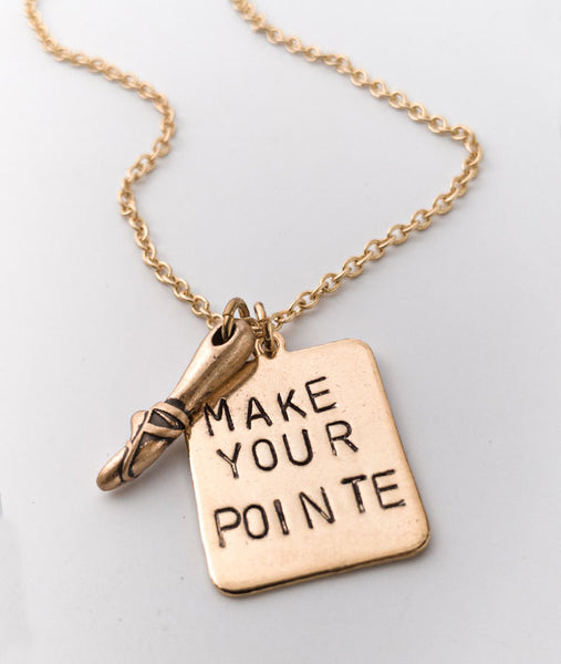 Make Your Pointe Necklace with Pointe Shoe Charm-Gold Plated