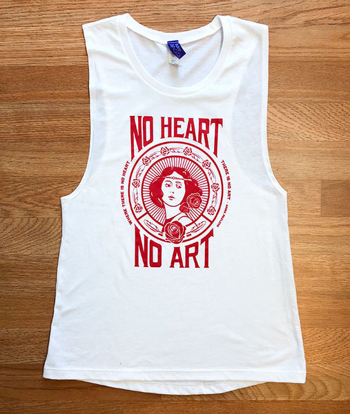 """Where there is no heart, there is no art"" Anna Pavlova quote on a muscle tee"
