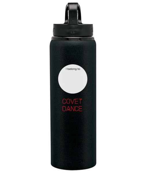Back of water bottle with place to write your name