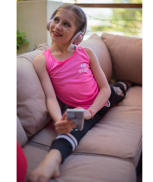Elliana Walmsley, of Dance Moms, in our pink Oh Pliés tank