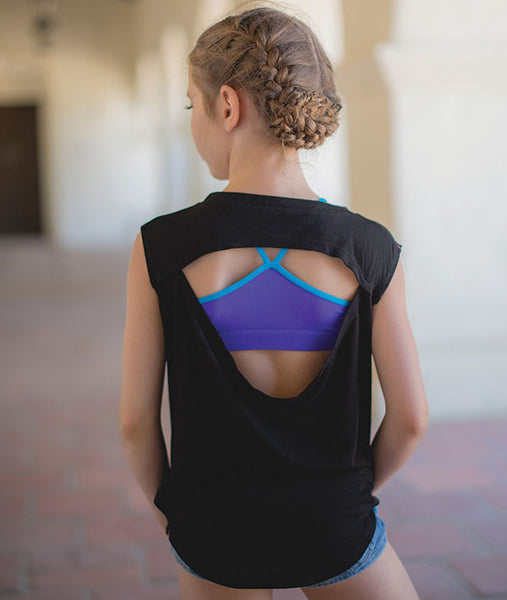 Elliana Walmsley in our open back tee