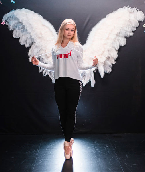 Prima white hoodie with angel wings