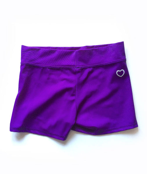 Booty shorts in covet purple with our trademark heart.