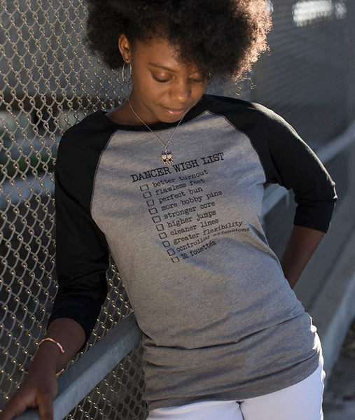 Athletic Grey Raglan with 3/4 Length Black Sleeves