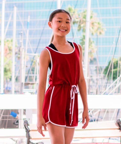 Cute Red Romper is perfect for Nutcracker rehearsals