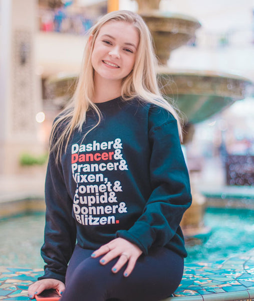 Unisex Reindeer Names Sweatshirt for dancers