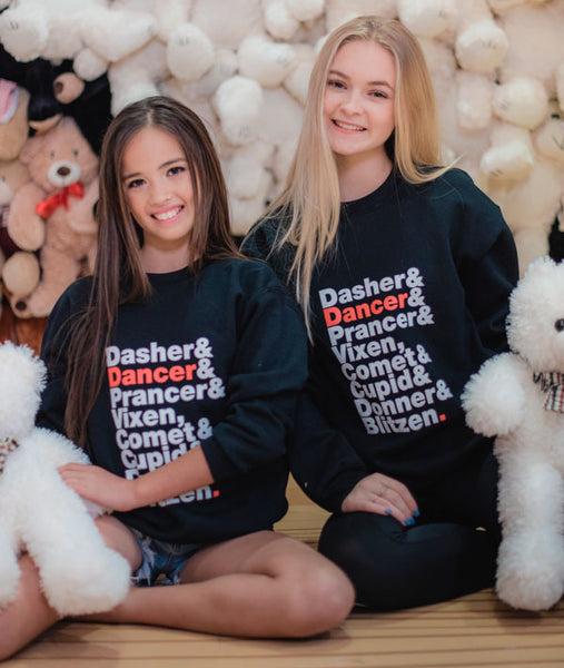 Reindeer Names Sweatshirts in Youth and Adult Sizes