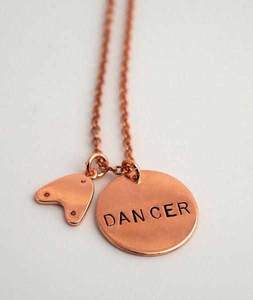 Rose Gold Tap Dancer Hand-Stamped Necklace