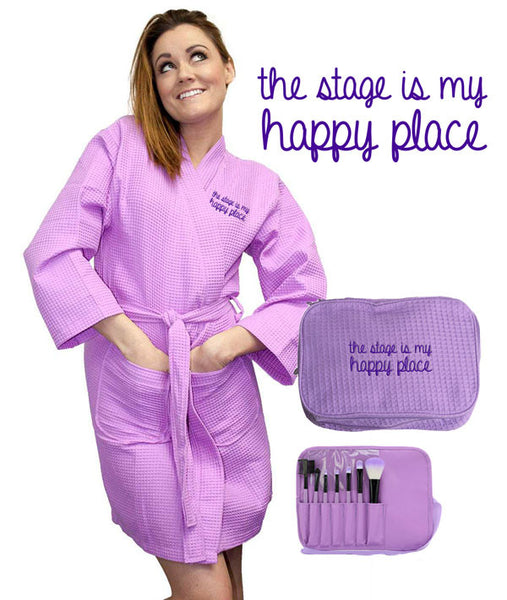 The Stage is My Happy Place Gift Set includes robe, cosmetic bag, and makeup brushes
