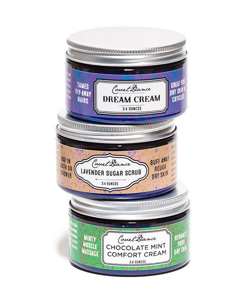 Dream Cream for your hair, Lavender Sugar Scrub for the whole body and Chocolate Mint Comfort Cream-minty muscle massage cream