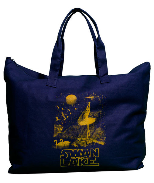 Swan Lake zippered canvas tote bag