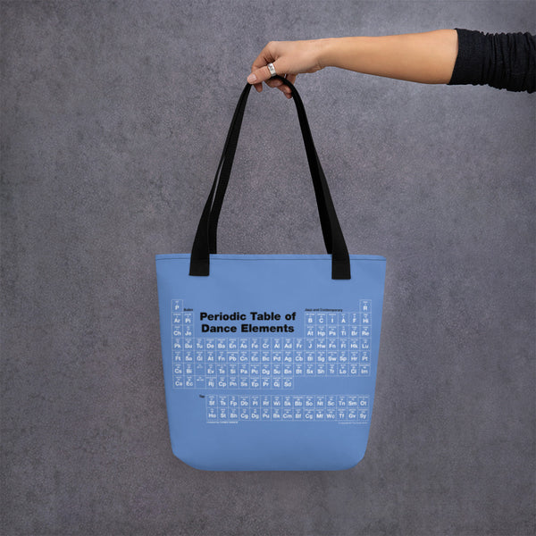 Blue tote bag with the Periodic Table of Dance Elements