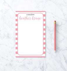 Personalized Stationary Notepad - Modern Stripe Custom Notepad Design.
