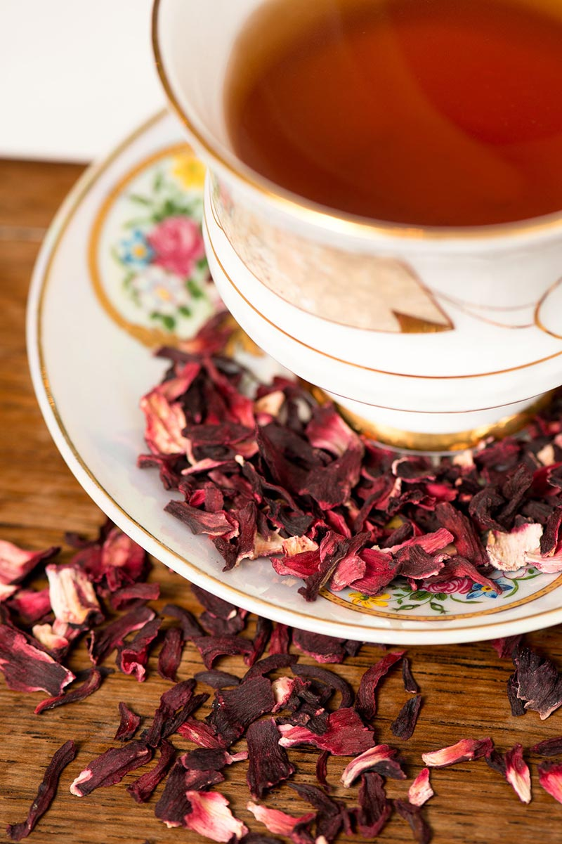 Hibiscus Loose Leaf Tea in a cup