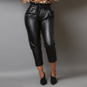 Noir Paperbag Leather Pants