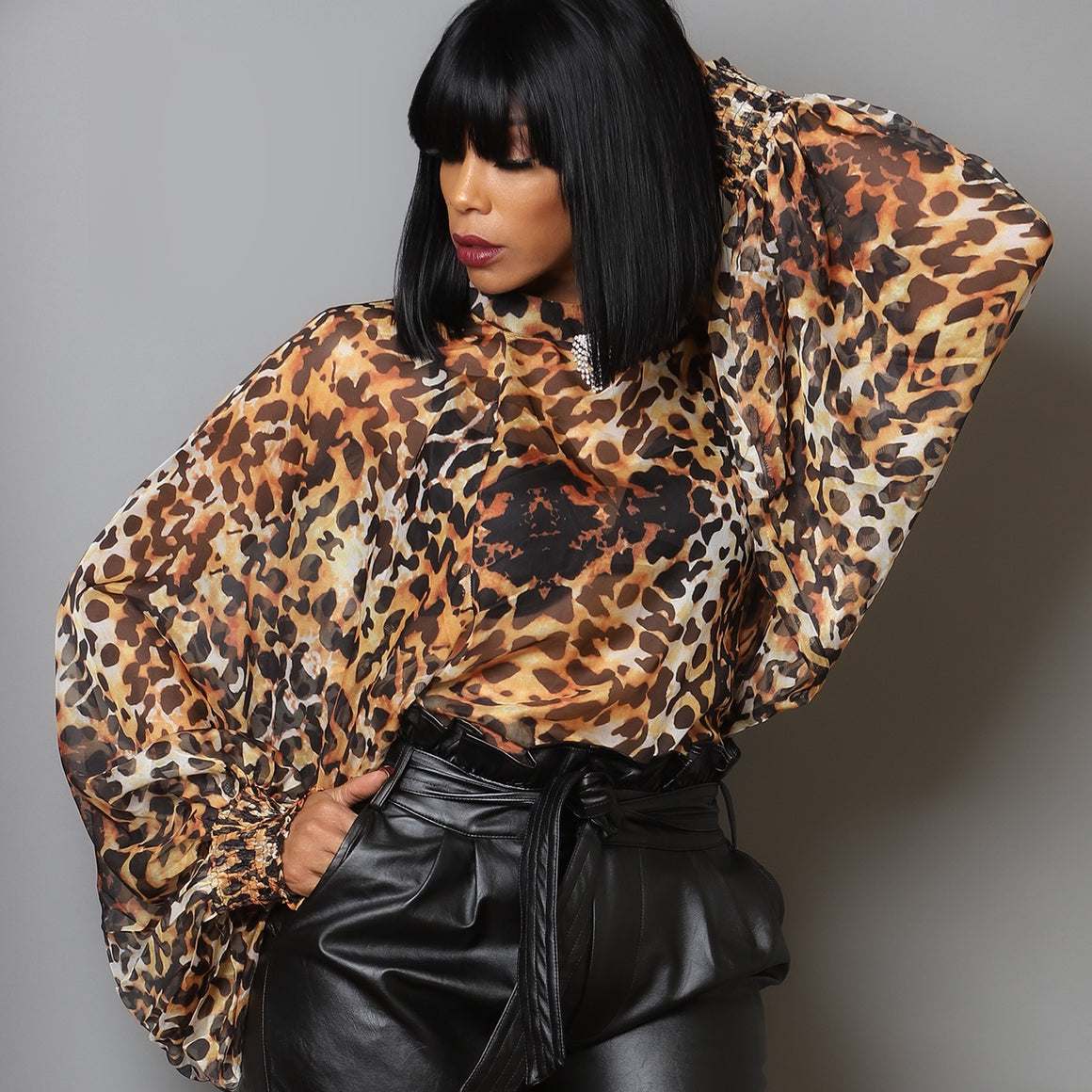 Crown Me Leopard Blouse