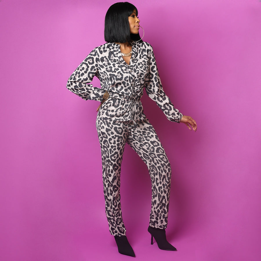 Around the Way Leopard Jumpsuit