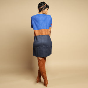 Strictly Business Suede Color Block Dress